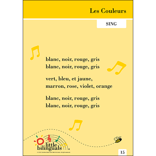 Little Bilinguals French song: Colours