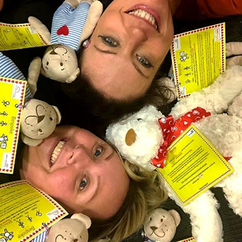 Ruth and Sarah surrounded by Sepsis Aware Bears