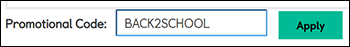 Screenshot of checkout showing BACK2SCHOOL code in the promotional code field