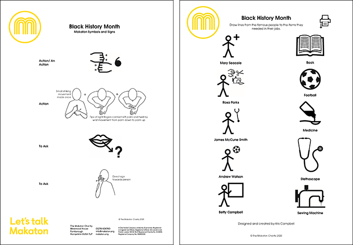 Front pages of the Black History Month vocabulary and matching game downloads