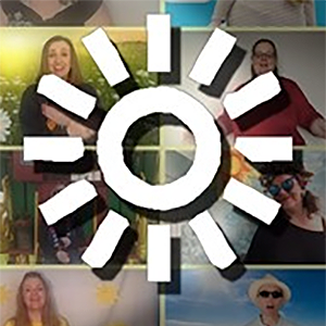Makaton symbol for 'the sun' overlaid on top of a Zoom video screenshot of people singing and signing 'Here Comes the Sun'