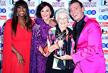 Margaret with Strictly Come Dancing stars Oti, Shirley and Craig