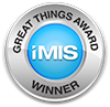 "Blue and silver badge saying ""iMIS Great Things Award Winner"""