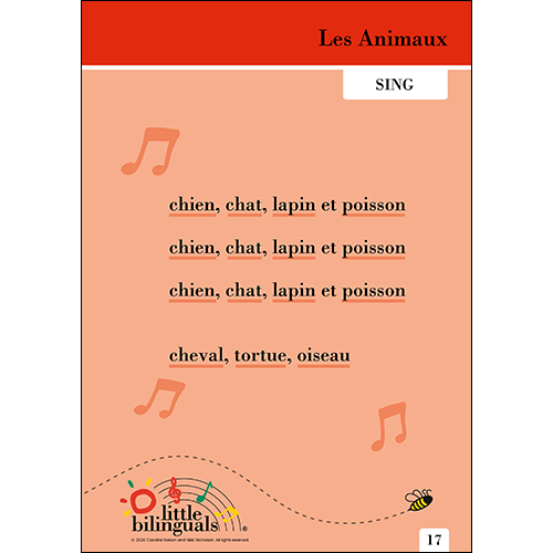 Little Bilinguals French song: The Animals