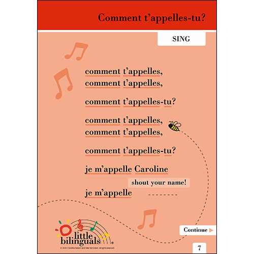Little Bilinguals French song: What's Your Name?